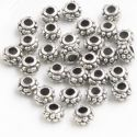 Metal spacer beads, Tibetan silver [an alloy of nickel and copper], Silver colour , Black , 6.5mm x 6.5mm x 4.5mm, 5 Beads, [ZYS0056]